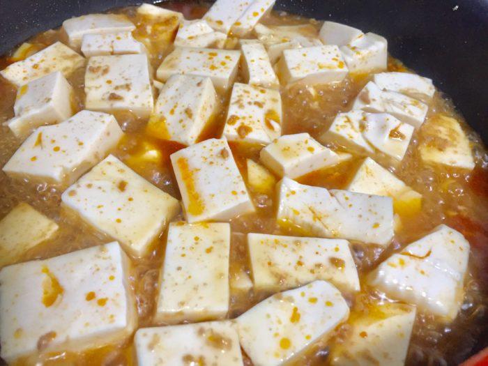 麻婆豆腐をひと煮立ち