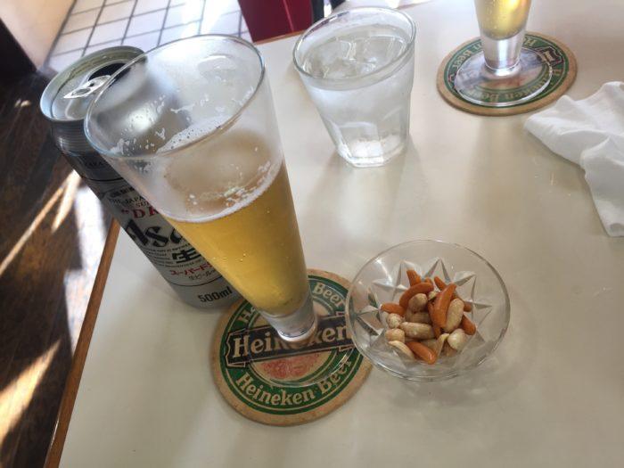 珈琲ふうじぇでビールと柿の種