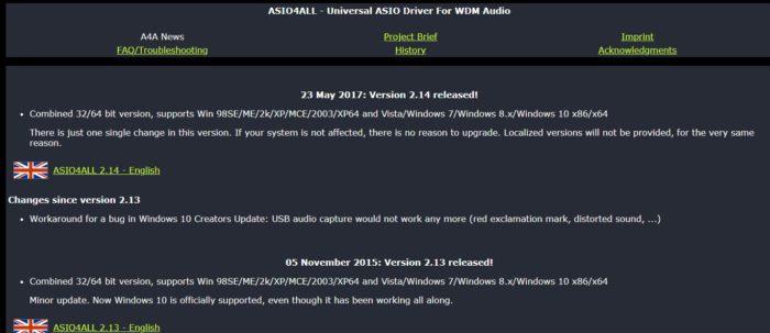ASIO4ALLUSBオーディオドライバーのダウンロード画面