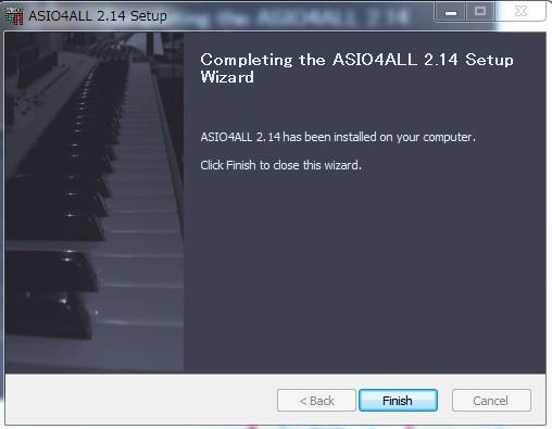 ASIO4ALLのインストールが完了