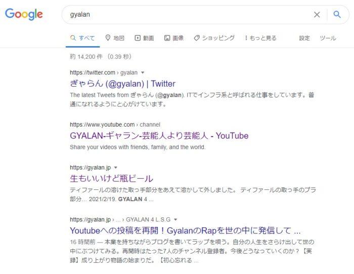 【Gyalan】での検索上位表示の現状