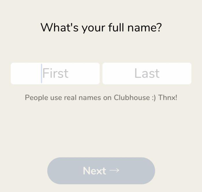 クラブハウスの登録用フルネームの登録