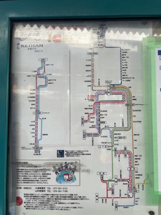 京阪バスと電車の路線図の案内