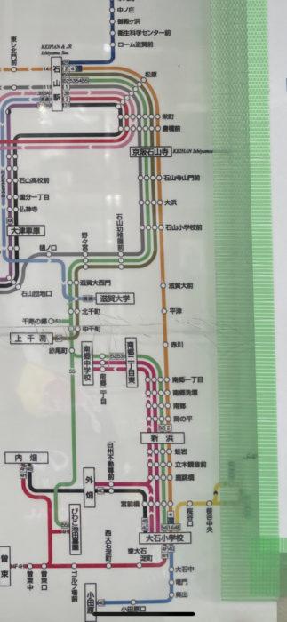 石山駅から大石小学校までの間に立木観音前の停留所があります。