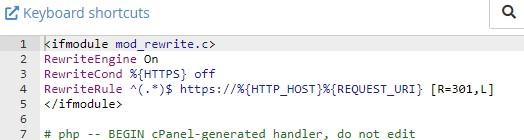 .htaccessを直接編集してコードを入力する。
